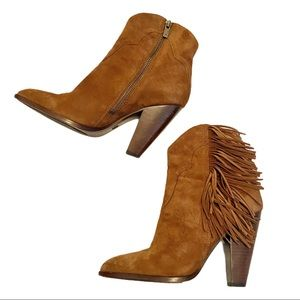 Frye Remy boots brown suede fringe heeled boots